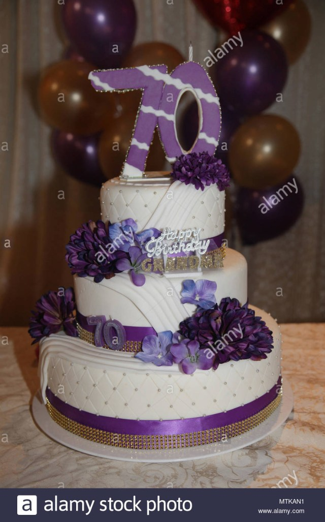 Fancy Birthday Cake Fancy Three Tier 70th Birthday Cake Stock Photo 187280941 Alamy
