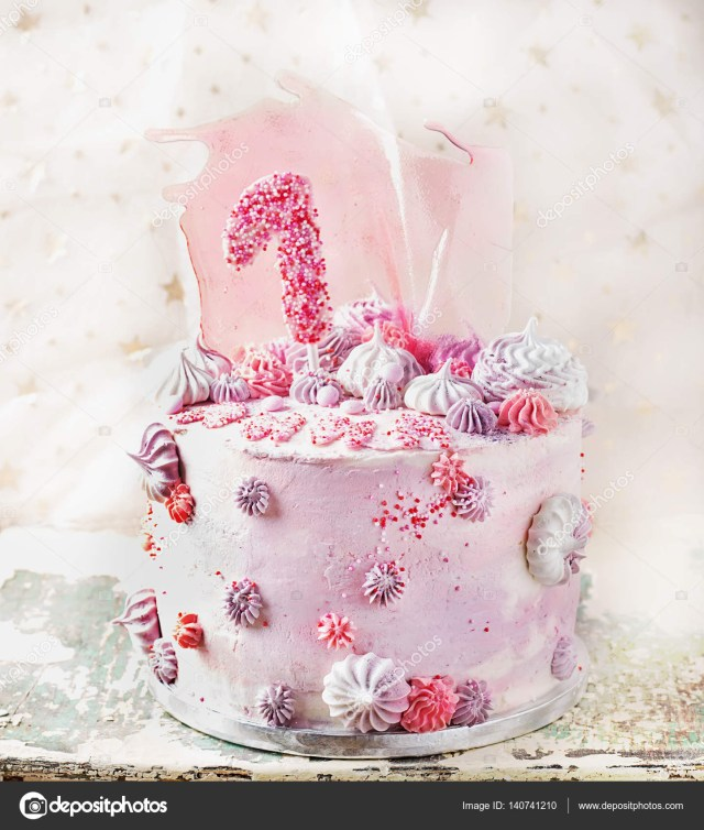 Fancy Birthday Cake Pink And Violet Fancy Birthday Cake Stock Photo Teelesswonder