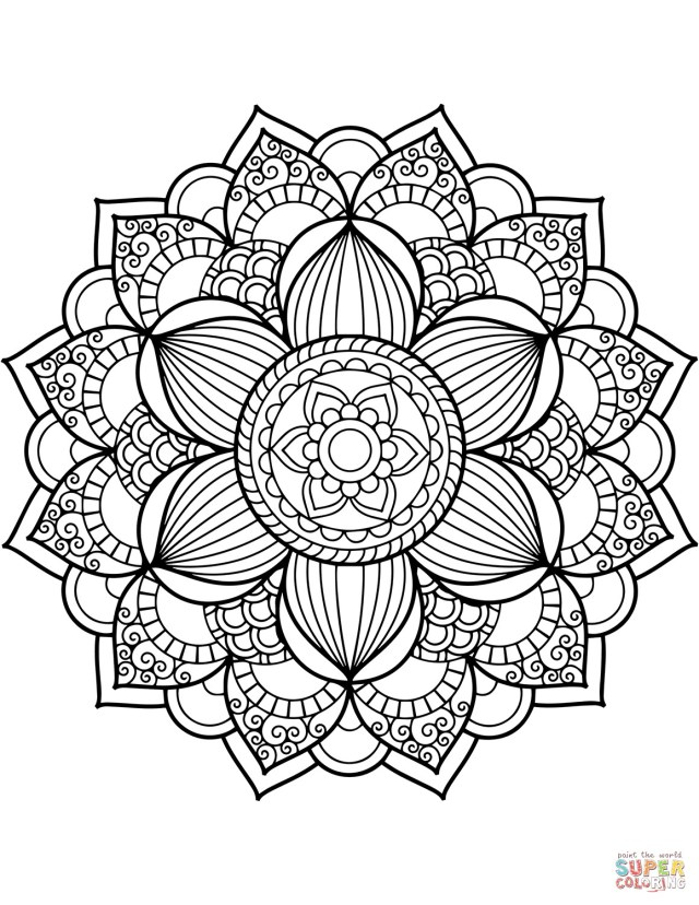 Flower Adult Coloring Pages Flower Mandala 20 Coloring Page Within Adult Coloring Pages Mandala