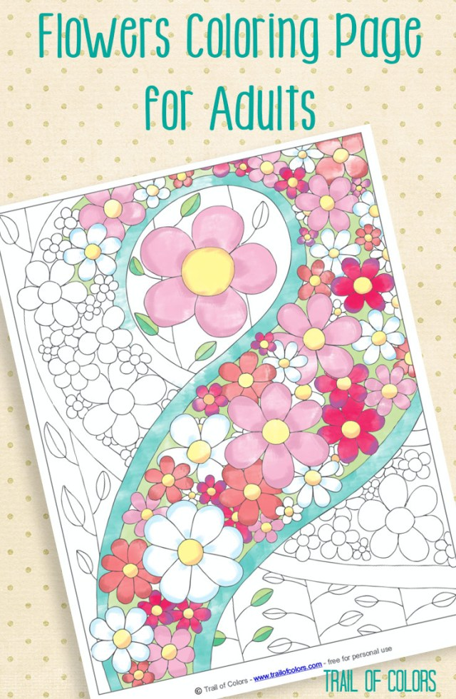 Flower Adult Coloring Pages Free Flowers Coloring Page Trail Of Colors