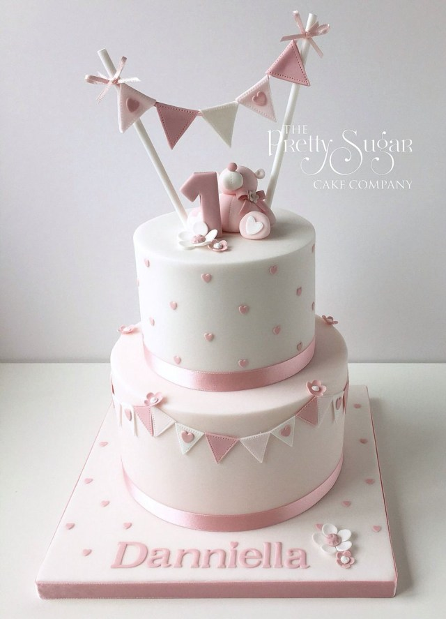 Girls First Birthday Cake Pink Polka Dot First Birthday Cake With Teddy Bunting Detail