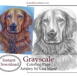 Golden Retriever Coloring Page Golden Retriever Grayscale Printable Coloring Page Instant Etsy