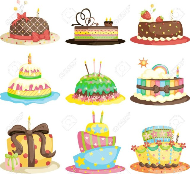 Gourmet Birthday Cakes A Vector Illustration Of Different Gourmet Birthday Cakes Royalty
