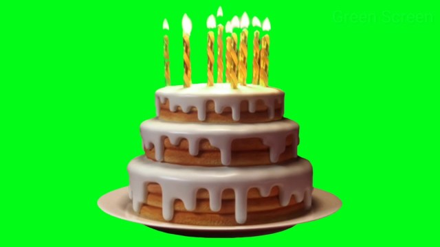 Green Birthday Cake Birthday Cake With Candle On Green Screen Green Screen Effects