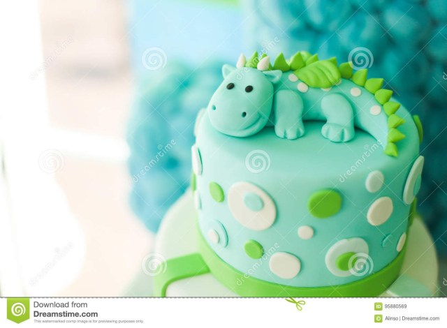 Green Birthday Cake Blue And Green Birthday Cake With Cute Dragon Stock Image Image Of