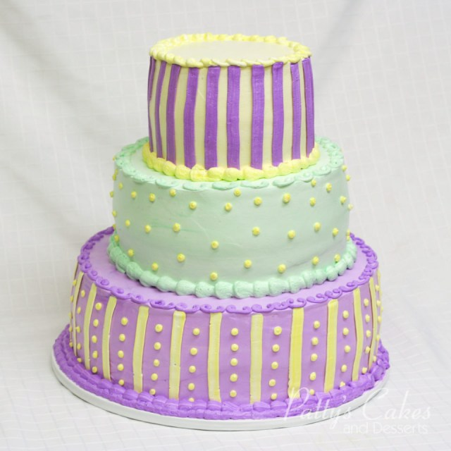 Green Birthday Cake Photo Of A 3 Tier Yellow Purple Green Birthday Cake Pattys Cakes