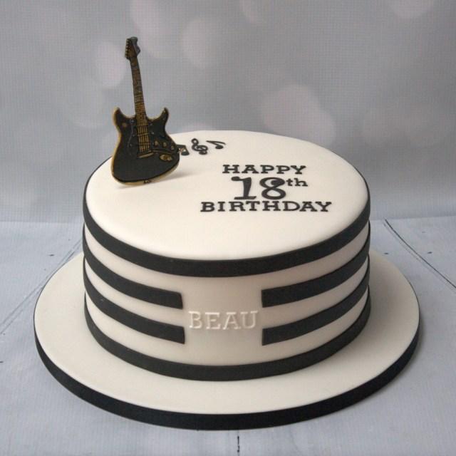 Guitar Birthday Cake Black White Guitar Cake