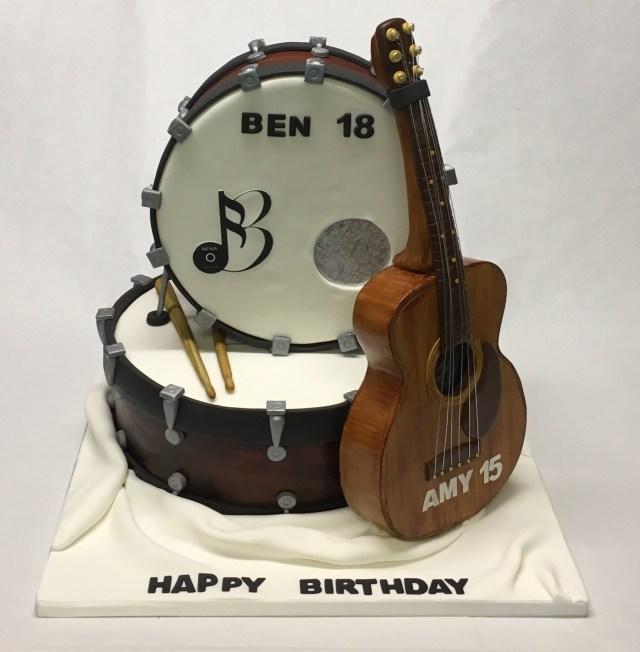Guitar Birthday Cake Drumkit And Guitar Cake Boys Birthday Cakes Celebration Cakes