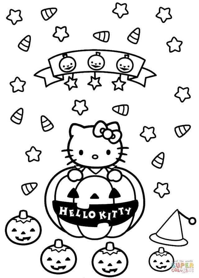 Halloween Coloring Pages Printable Hello Kitty Halloween Coloring Page On Halloween Coloring Pages