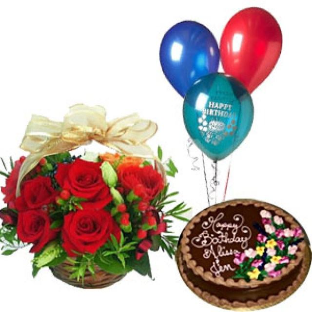 Happy Birthday Cake And Flowers Images Basket Of 15 Red Roses With 1 Pound Fresh Cream Chocolate Cake And