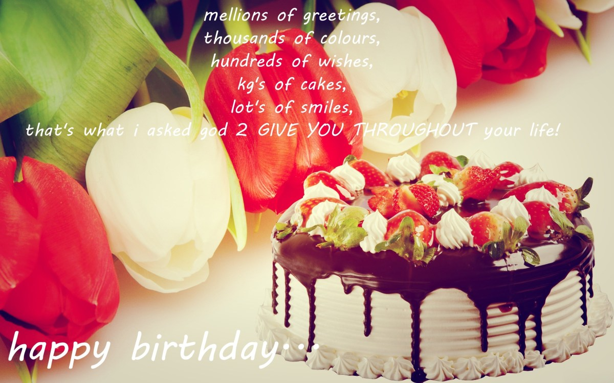 Happy Birthday Cake And Flowers Images Quotes With Wallpaperwiki