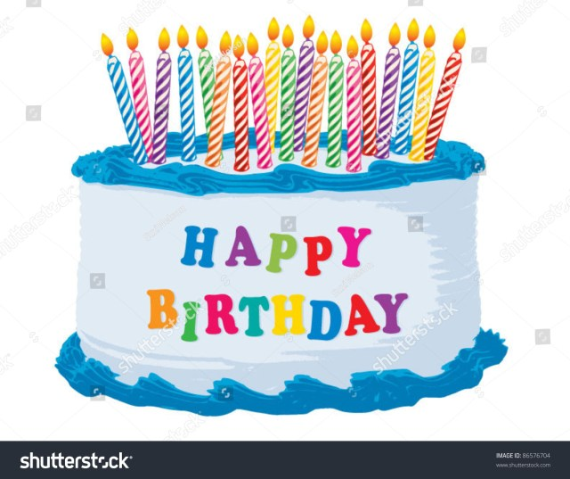 Happy Birthday Cake Pictures Blue Happy Birthday Cake Stock Vektorgrafik Lizenzfrei 86576704