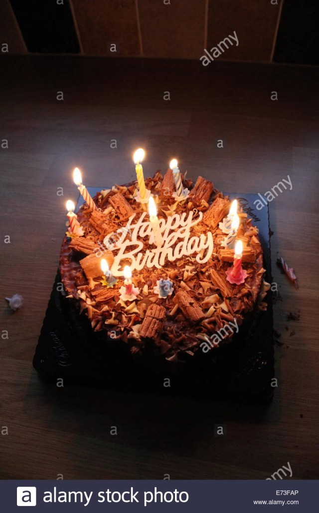 Happy Birthday Cake With Candles Happy Birthday Chocolate Cake With Candles Stock Photo 73221982 Alamy