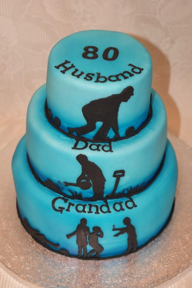 Happy Birthday Dad Cake 80th Birthday Cakehusband Dad Grandad Tiered Cake With Lawn Bowls