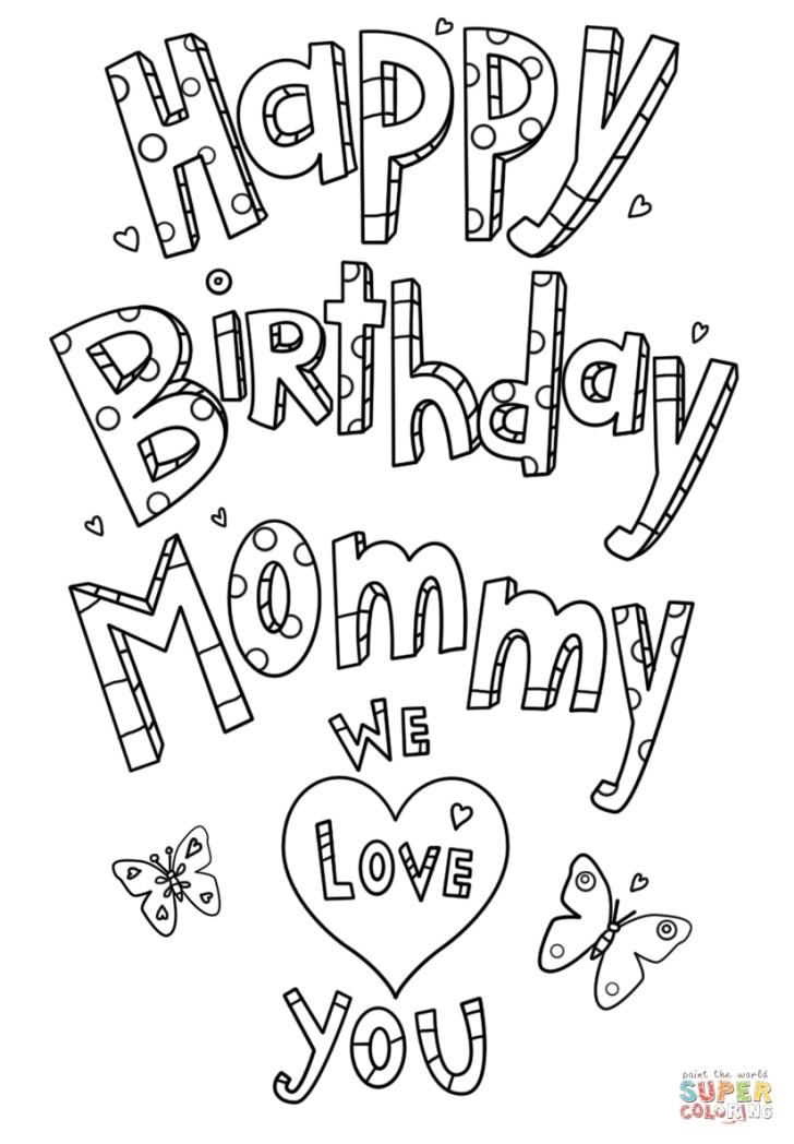 Inspired Image of Happy Birthday Mom Coloring Page