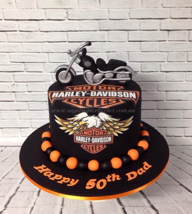 Harley Davidson Birthday Cake Harley Davidson Bike Cake Harley Davidson Topper 50th Birthday
