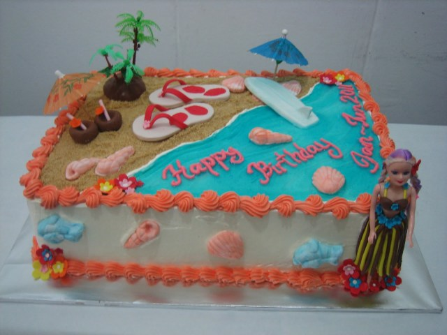 Hawaiian Birthday Cakes Mas Ayu Confections Hawaiian Beach Birthday Cake