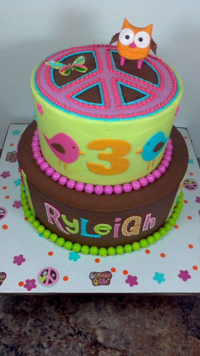 Hippie Birthday Cake Hippie Chick Owl Birthday Cake Cakecentral