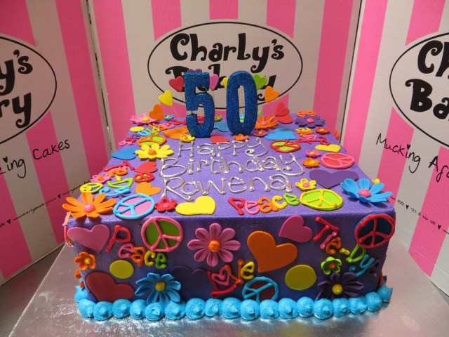 Hippie Birthday Cake Hippie Themed 50th Birthday Cake Iced In Purple Butter Icing With
