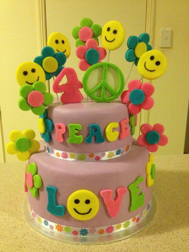 Hippie Birthday Cake Peace Hippie Themed Birthday Cake Hippie Peace Love T Flickr