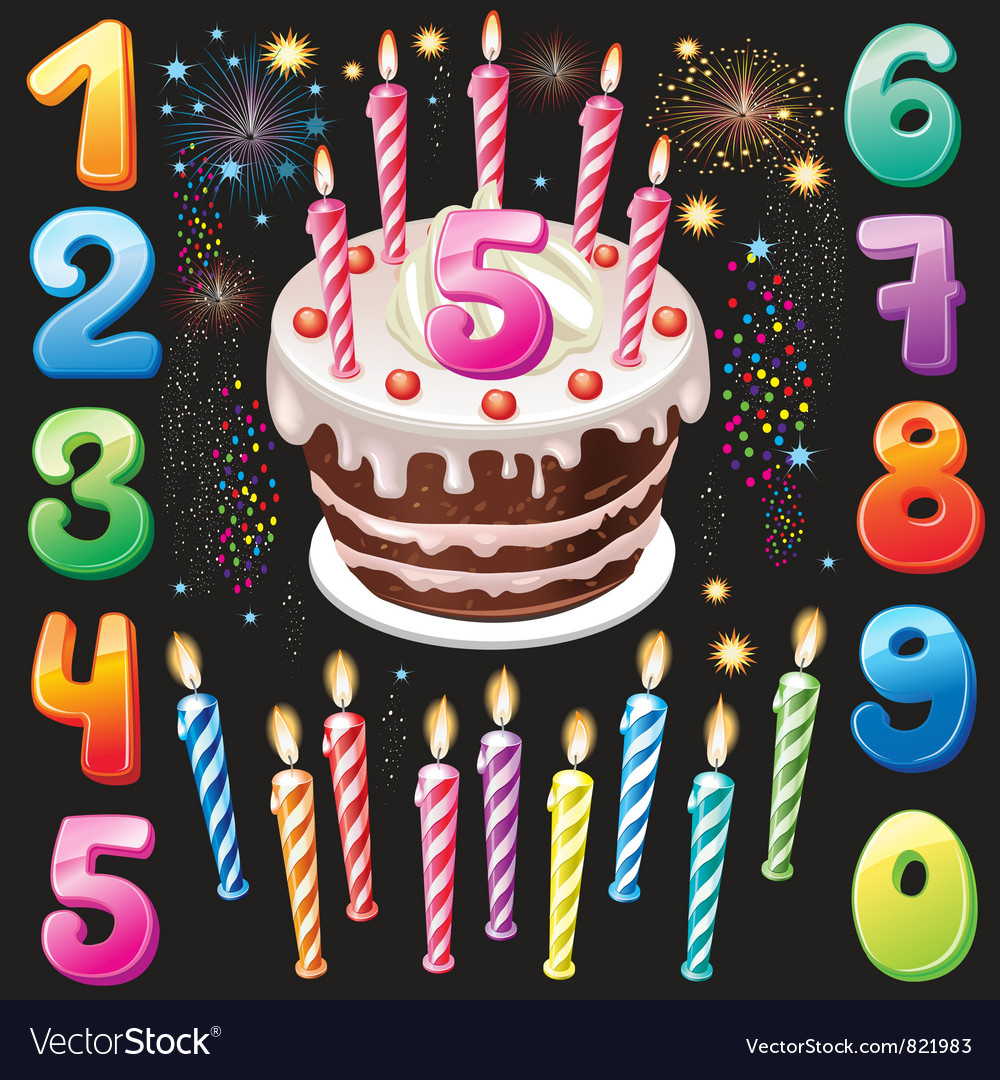 Images Of Happy Birthday Cake Happy Birthday Cake Numbers And Firework Vector Image