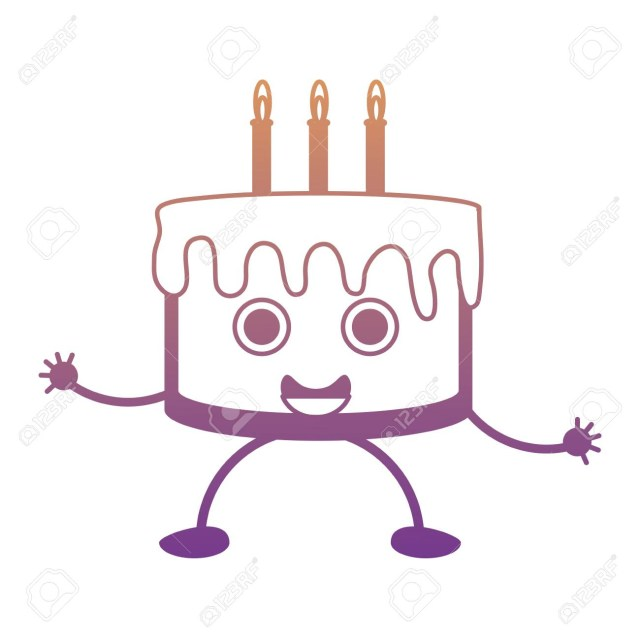 Kawaii Birthday Cake Kawaii Birthday Cake Icon Royalty Free Cliparts Vectors And Stock