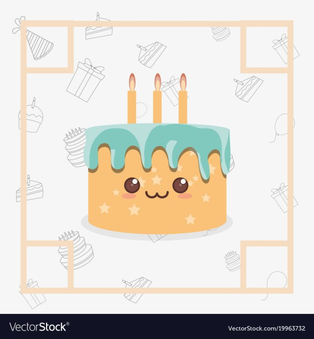 Kawaii Birthday Cake Kawaii Birthday Cake Icon Royalty Free Vector Image