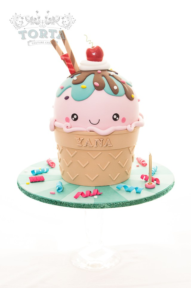 Kawaii Birthday Cake Kawaii Inspired Ice Cream Cone Cake Wedding Party Celebration
