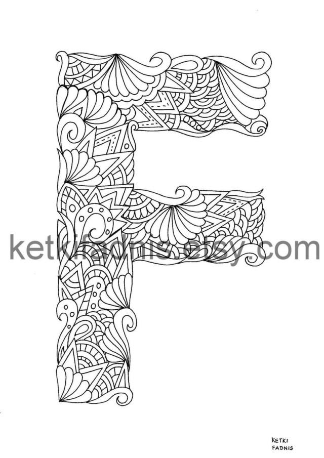 Letter F Coloring Page Letter F Coloring Page Instant Pdf Download Alphabet Etsy