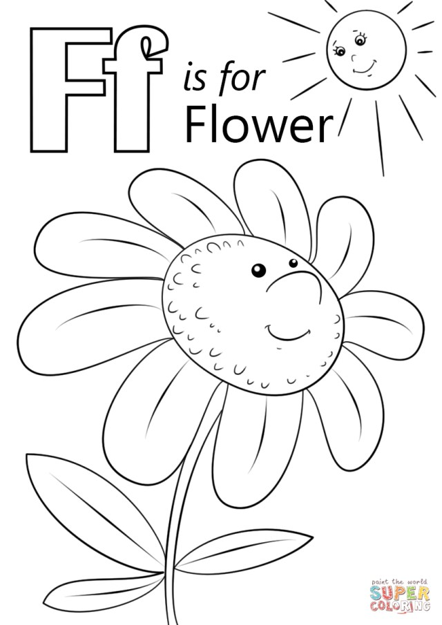 Letter F Coloring Page Letter F Is For Flower Coloring Page Free Printable Coloring Pages