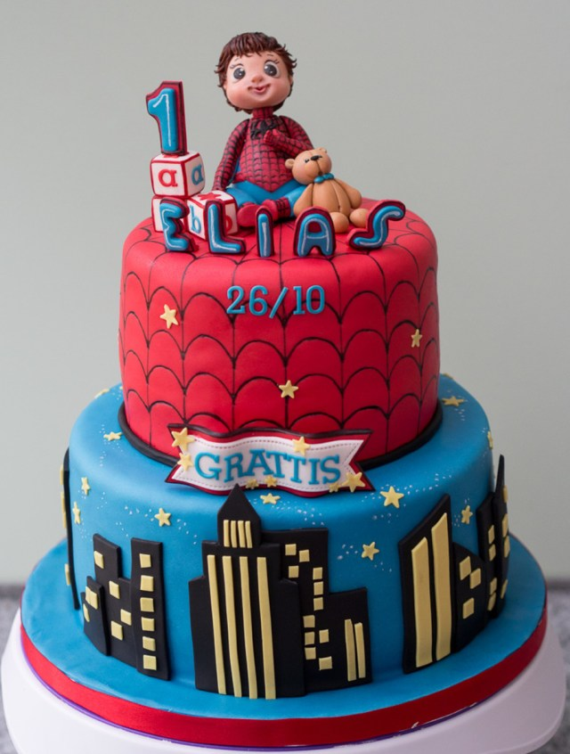 Little Boy Birthday Cakes A Little Ba Boy In A Spiderman Costume With His Cuddly Little
