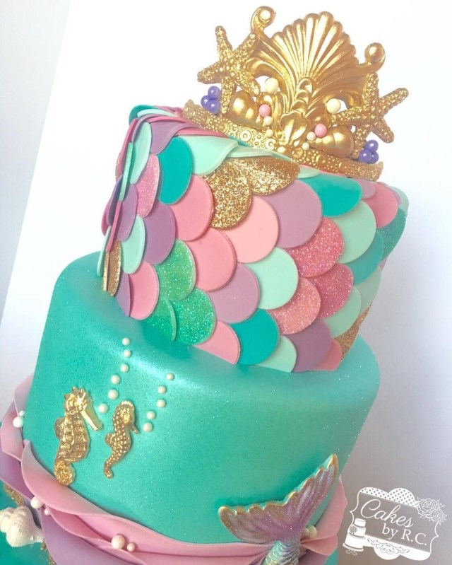 Mermaid Birthday Cakes This Weekend Was All About Mermaids Fondant Tiara Gold Shimmer