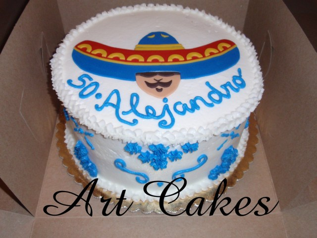 Mexican Birthday Cake Mexican Birthday Cake Round Buttercream Cake With A Mexica Flickr