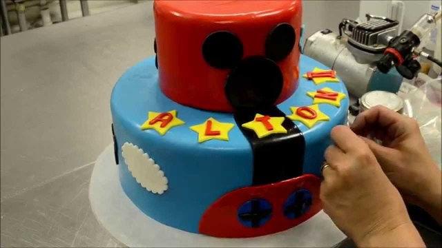 Mickey Mouse Birthday Cake Ideas Two Tier Mickey Mouse Cake Decorating Process How To Cake Videos