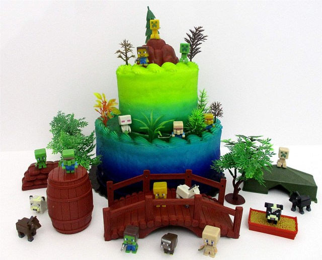 Minecraft Birthday Cake Toppers Buy 12 Piece Minecraft Themed Birthday Cake Topper Set Featuring