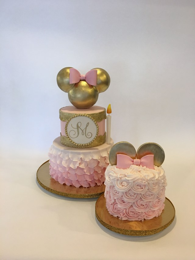Minnie Mouse 1St Birthday Cake 1st Birthday Gold And Pink Minnie Cake And Smash Cake Cakes In