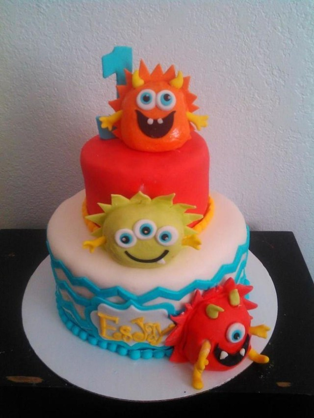 Monster Birthday Cake 1st Birthday Ba Monster Cake Cakecentral