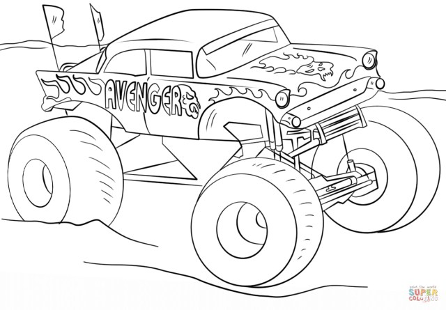 Monster Jam Coloring Pages Avenger Monster Truck Coloring Page Free Printable Coloring Pages