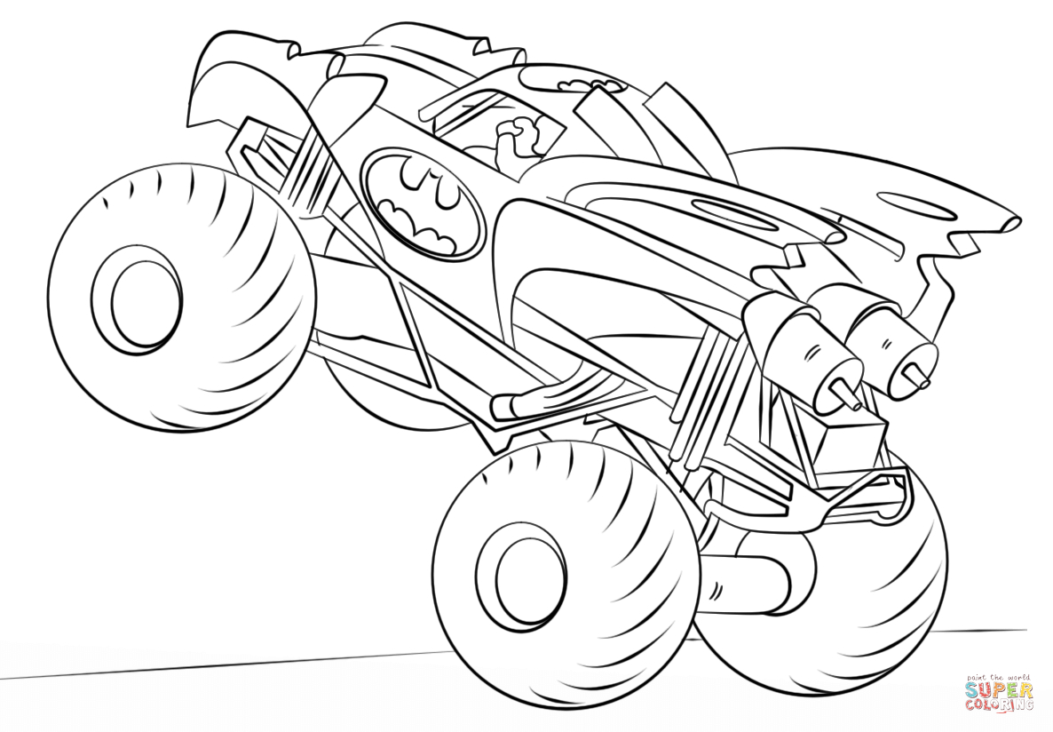 Monster Truck Coloring Page Batman Monster Truck Coloring Page Free Printable Coloring Pages