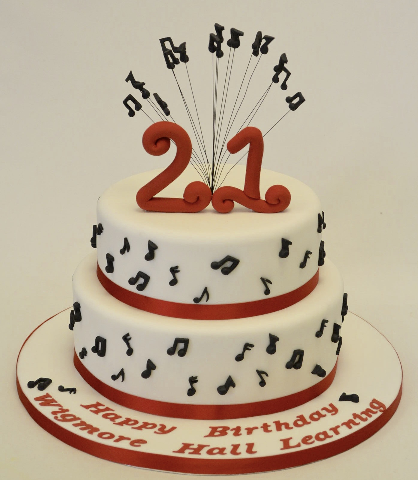 Music Birthday Cakes Two Tier 21st Musical Notes Cake Adult