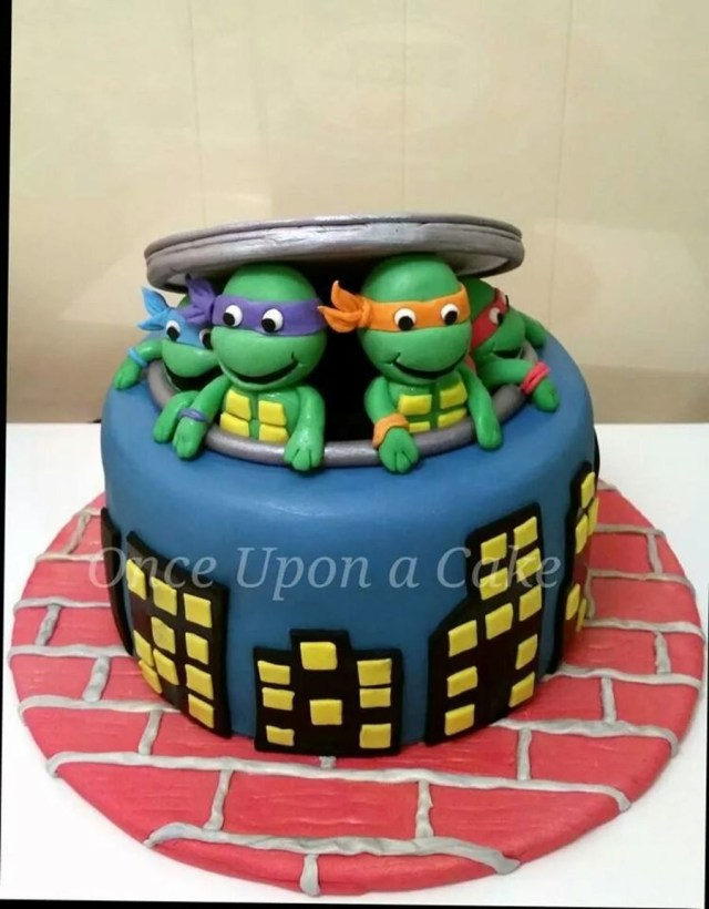 Ninja Turtles Birthday Cake 8 Round Chocolate Cake With Teenage Mutant Ninja Turtles