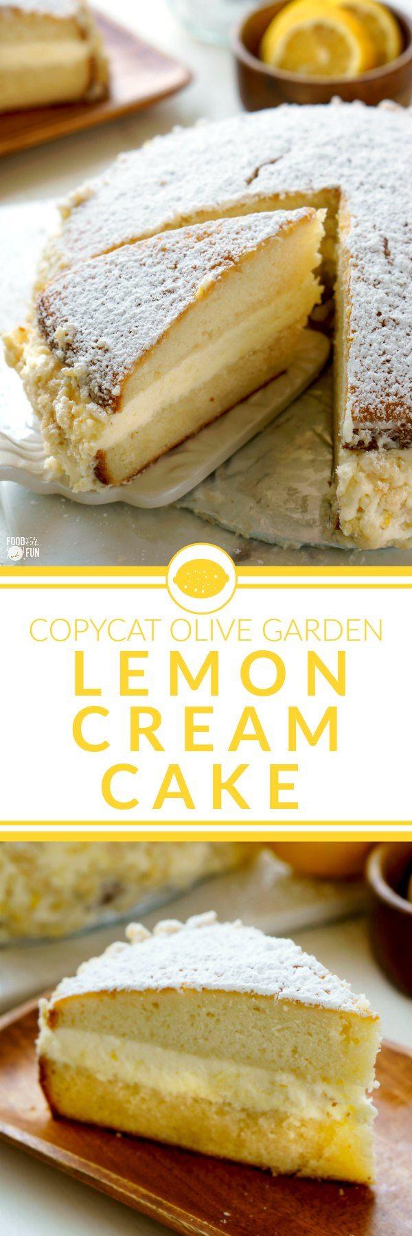 Olive Garden Birthday Cake Copycat Olive Garden Lemon Cream Cake Food Folks And Fun