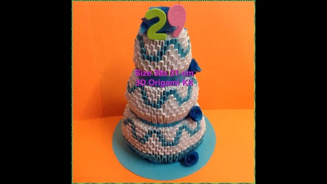 Origami Birthday Cake 3d Origami Birthday Cake Tutorial Youtube