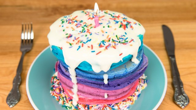 Pancake Birthday Cake Birthday Cake Pancakes With Cream Cheese Glaze From Cookies Cupcakes