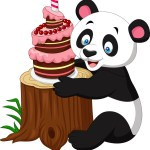 Panda Birthday Cake Cartoon Funny Panda With Birthday Cake Royalty Free Vector