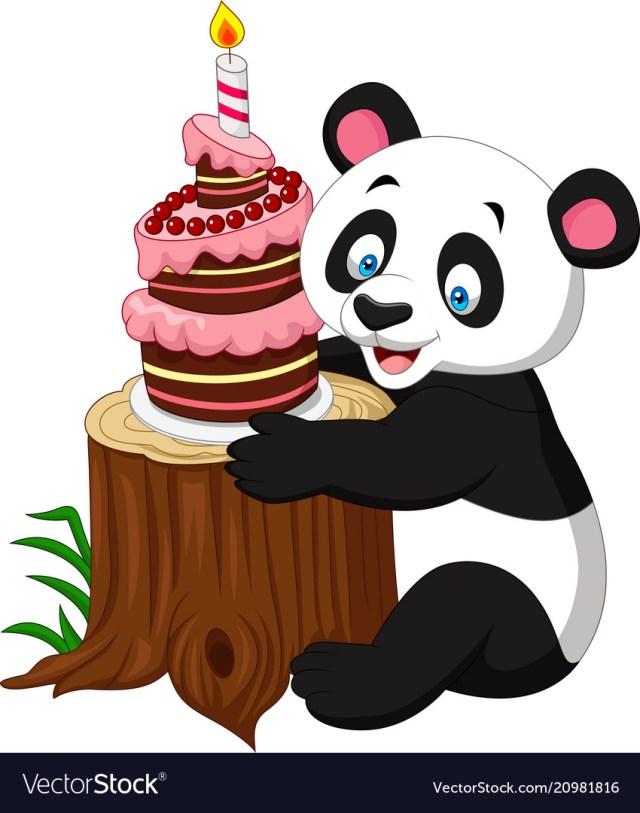 Panda Birthday Cake Cartoon Funny Panda With Birthday Cake Royalty Free Vector