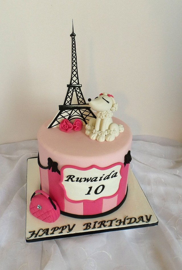 Paris Birthday Cakes Paris Themed Birthday Cake With Fondant Poodle Handbag And Eiffel