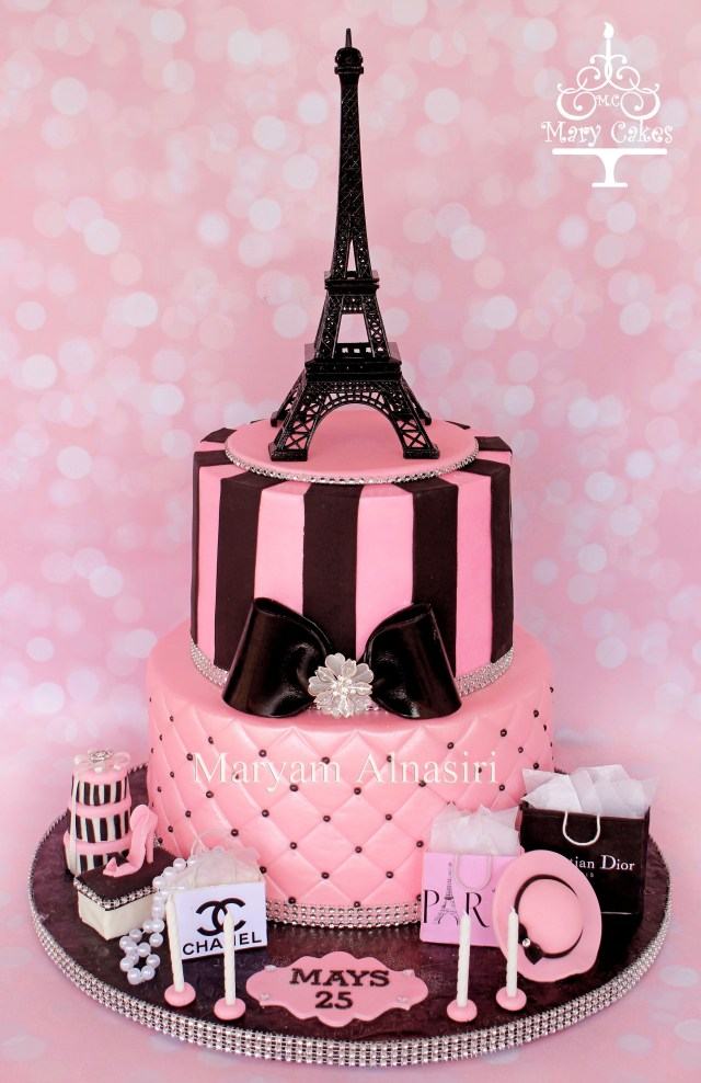 Paris Birthday Cakes Parisian Theme Cake Pariscake Eiffeltower Pinkandblack Paris