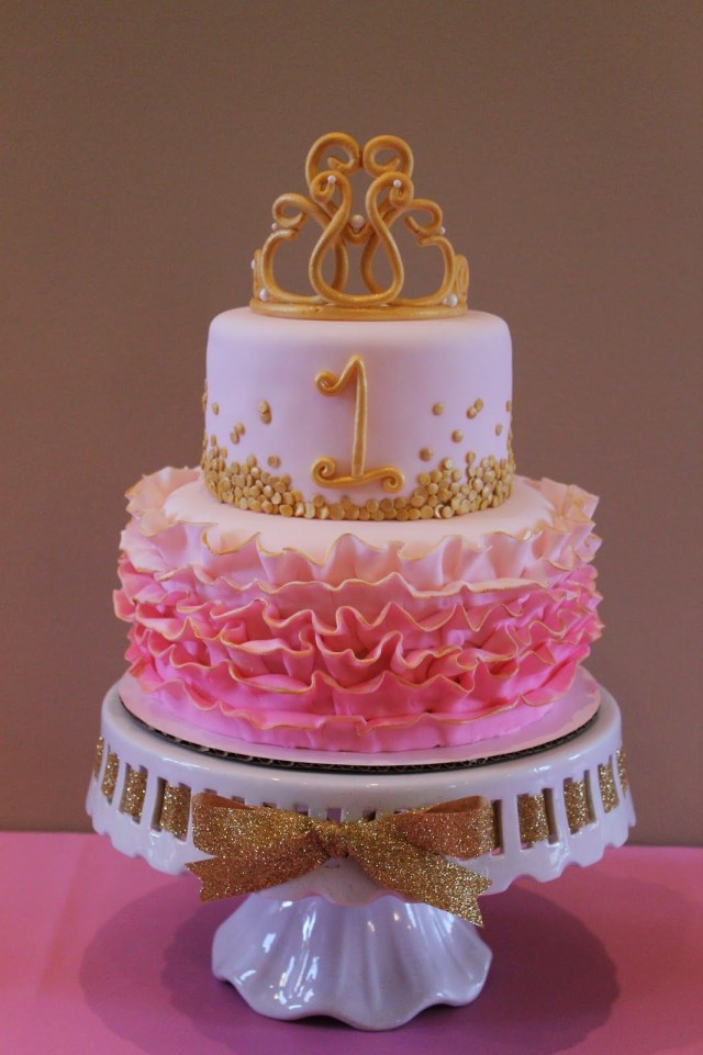 Princess 1St Birthday Cake Pink And Gold Princess First Birthday Cake Rhemingtyns 1st