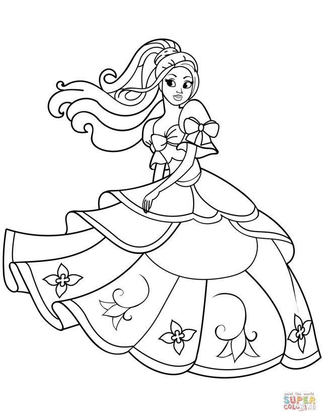 Princess Coloring Page Dancing Princess Coloring Page Free Printable Coloring Pages